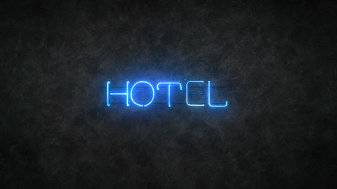 Flickering hotel blue neon light sign 3D render seamless loop animation Animation