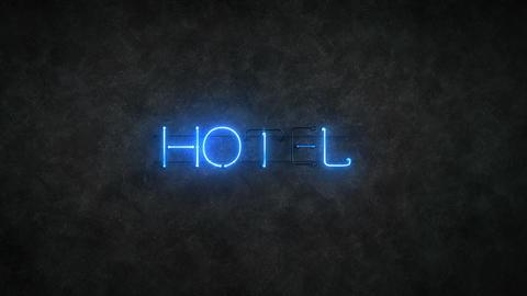 Flickering hotel blue neon light sign 3D render seamless… Stock Video Footage