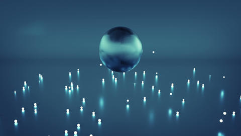 Jumping blue glossy ball and sparkles seamless loop animation Animation