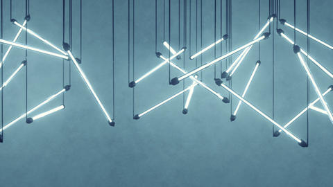 Blue fluorescent light bulbs hanging seamless loop 3D render animation Animation