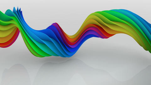 Rainbow spectrum twisted spiral shape spinning seamless loop 3D render animation Animation