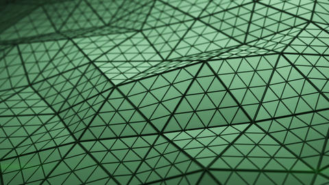 Triangulated green shape with polygons loopable 3D render Animation