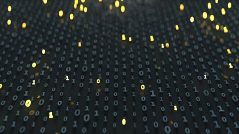 Binary code array with glowing symbols seamless loop 3D render animation Animation