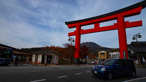 Big religious gate in front of traditional shrine on the street timelapse Live Action