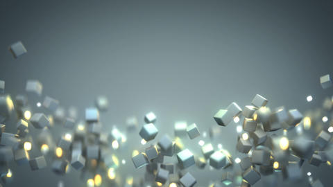 Chaotic stream of flying cubes seamless loop 3D render animation Animation