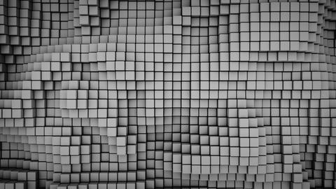 Wavy surface of gray cubes seamless loop 3D render animation Animation