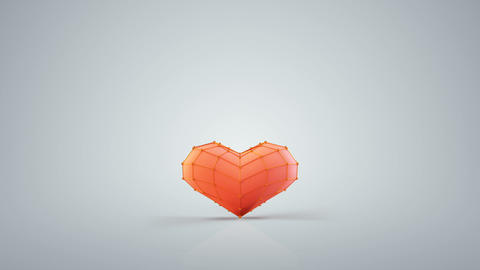 Red heart shape are jumping loopable 3D render animation Animation