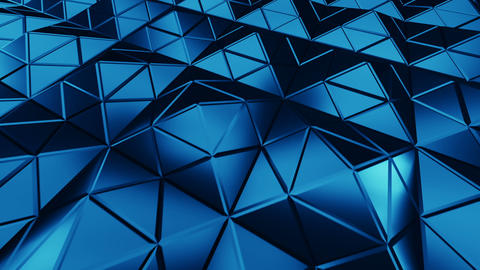 Blue triangulated surface in dynamic light 3D render seamless loop animation Animation