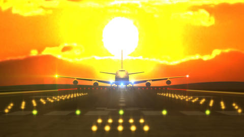 Aircraft landing in front of sunset Animation