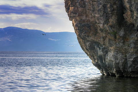 Landscape of Lake Ohrid with the giant rock フォト