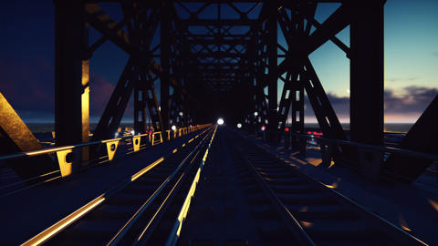 Trains that sweep at sunset on the railway bridge past at high speed CG動画素材
