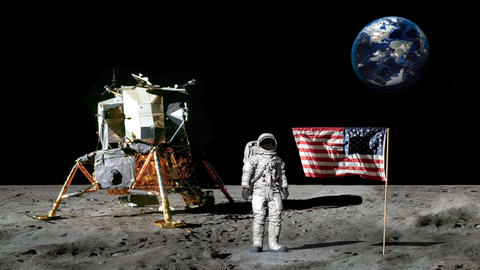 Astronaut walking on the moon and saluting the American flag.. CG Animation Footage