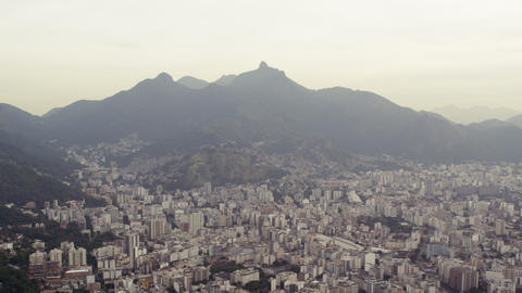 Aerial footage of Rio and surrounding mountains Footage