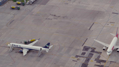 RIO DE JANEIRO, BRAZIL - JUNE 21: Aerial shot of planes at airport on June 21, 2 Footage