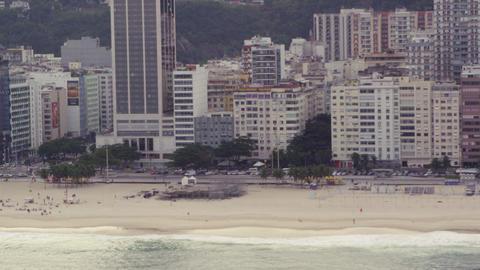 Helicopter flight along the beach in Rio de Janeiro, Brazil Footage