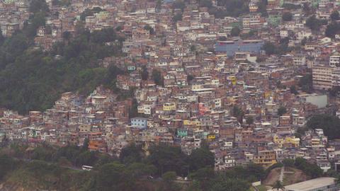 Aerial shot of favela in Rio de Janeiro, Brazil Live Action