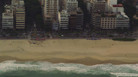 Aerial dolly shot of Rio de Janeiro coastline in Brazil Live Action