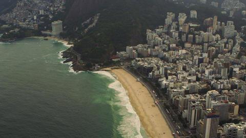 Aerial tracking shot of Rio de Janeiro, Brazil coastline Footage