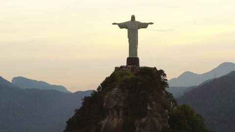 Tracking shot of Christ Redeemer statue on Corcovado Mountain in Rio de Janeiro, Footage