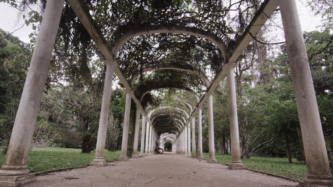 Tracking shot centered in walkway going through the arches in Jardim Botanico in Footage