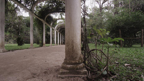 Right pan of ancient arches in Jardim Botanico in Rio Footage