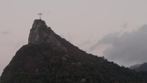 Static shot of Christ statue on Corcovado above Rio de Janeiro, Brazil Footage