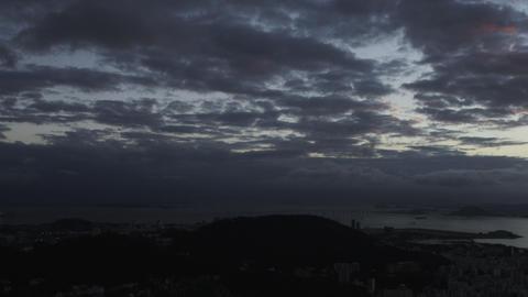 Panning, low light shot over Rio de Janeiro, Brazil Footage