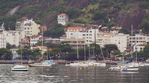 Shot of a town near a marina in Rio de Janeiro, Brazil Footage