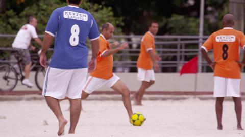 RIO DE JANEIRO, BRAZIL - JUNE 23: Slow motion pan - soccer game on June 23, 2013 Live Action