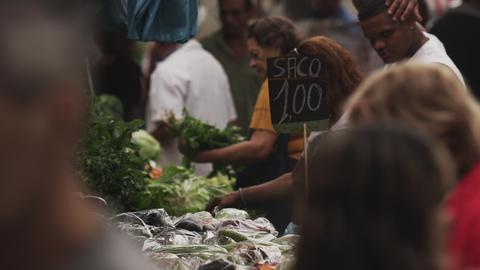 RIO DE JANEIRO, BRAZIL - JUNE 23: Slow motion, purchasing at market on June 23,  Live Action
