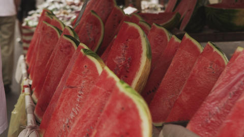 Close-up of watermelons for sale in a market at Rio de Janeiro, Brazil Footage
