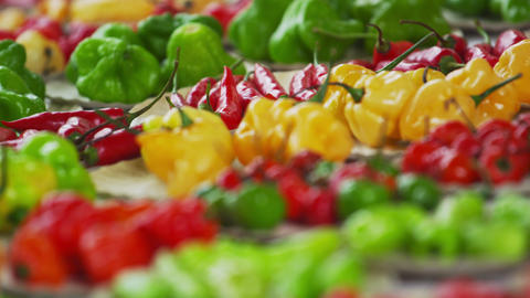 Close-up racking shot of different varieties of pepper at a market in Rio de Jan Footage