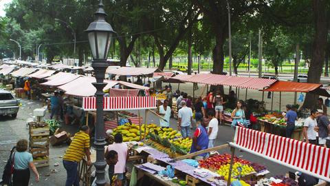 RIO DE JANEIRO, BRAZIL - JUNE 23: Slow motion of sidewalk market on June 23, 201 Footage
