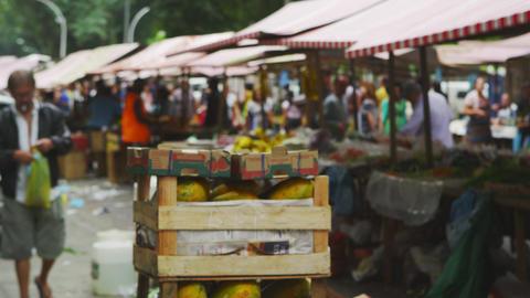 RIO DE JANEIRO, BRAZIL - JUNE 23: Slow motion of crate in market on June 23, 201 Footage