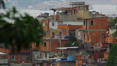 Static shot of impoverished community in Rio de Janeiro, Brazil Footage