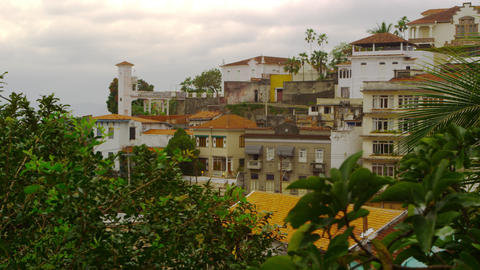 Panning shot of residential buildings in Rio de Janeiro, Brazil Footage