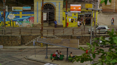 Slow motion shot of activities along a street in Rio de Janeiro, Brazil Footage