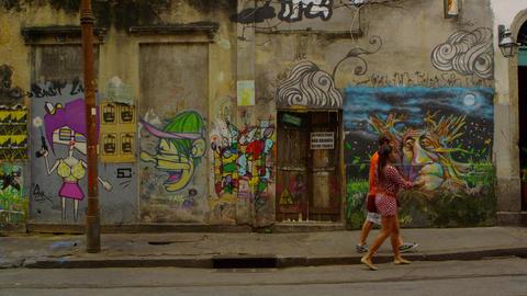 RIO DE JANEIRO, BRAZIL - JUNE 23: Slow motion, wall art on June 23, 2013 in Rio  Live Action
