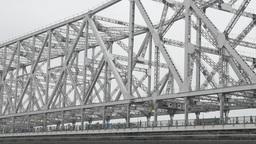 Pedestrian crossing Howrah bridge close-up,Kolkata,India Footage