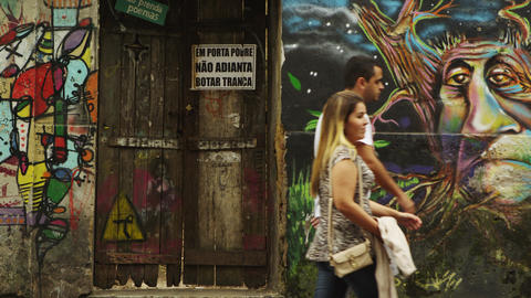 RIO DE JANEIRO, BRAZIL - JUNE 23: Slow motion, artwork on walls on June 23, 2013 Footage
