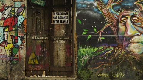RIO DE JANEIRO, BRAZIL - JUNE 23: Slow motion, wall graffiti on June 23, 2013 in Footage