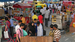 Busy street market in front of Palika Bazaar, connaught place,New Delhi,India Footage