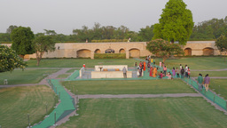 People paying respect at Raj Ghat where Gandhi was cremated,New Delhi,India Footage