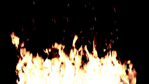 Lit a large fire at night on a black background HD Live Action
