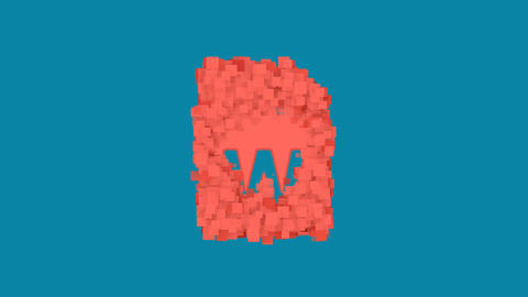 Behind the squares appears the symbol file W. In - Out. Alpha channel Animation