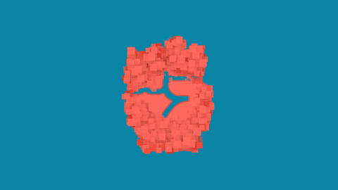 Behind the squares appears the symbol fist raised. In - Out. Alpha channel Animation