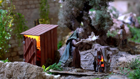 Largest animated nativity scene in South America. Man is seen using outhouse Footage
