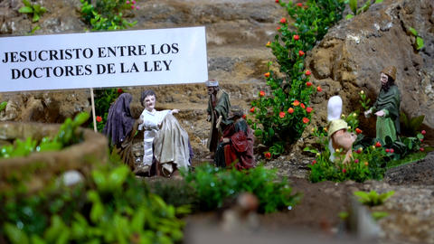 Largest animated nativity scene in South America. Jesus talks to lawyers Live Action