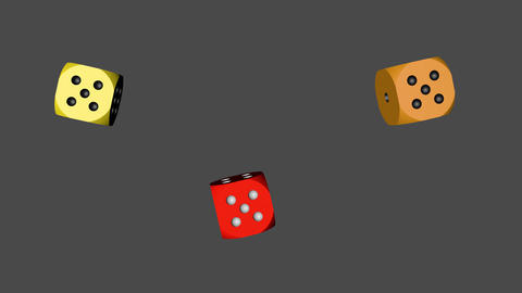 Red Orange Yellow Dice Loop Moving, 3D Rendering Animation