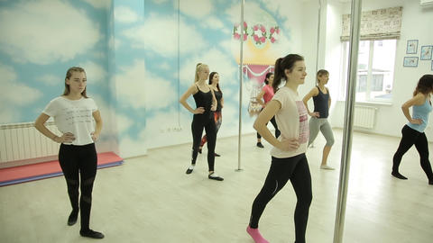 MINSK, BELARUS - November 28, 2018: Beautiful girls learn the movements for a ビデオ